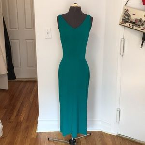 Vintage fitted emerald wool stretch midi dress